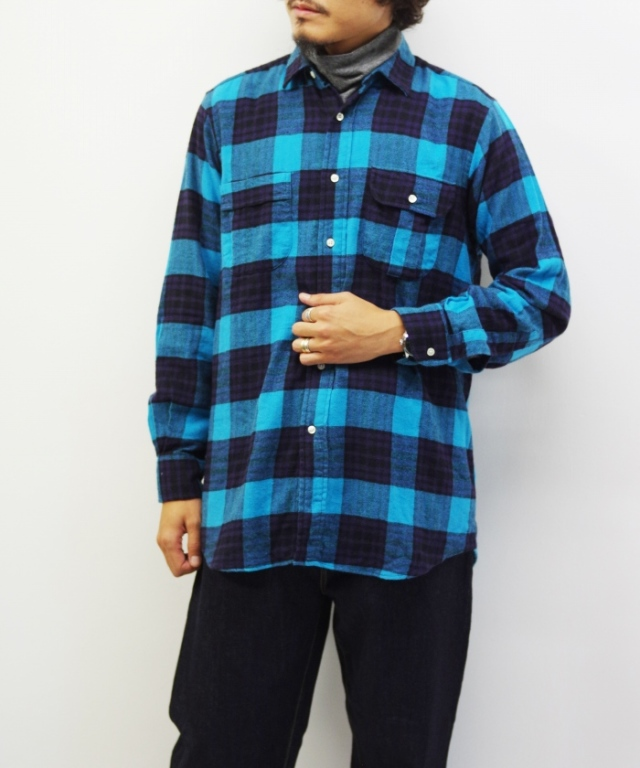 【予約】INDIVIDUALIZED SHIRTS/インディビジュアライズドシャツ FLANNEL SHIRTS ONEWASH MAPS Limited - Turquoise 【MAPSのスペシャル】