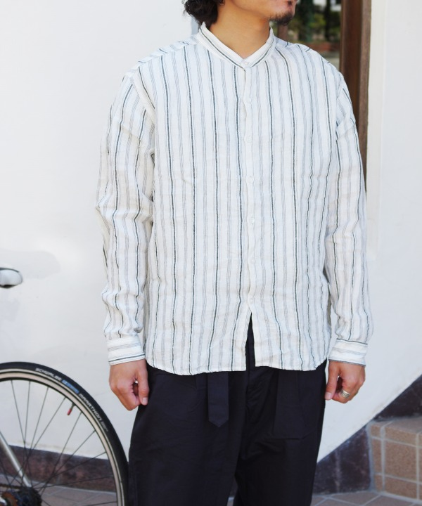 MUYA/ムヤ French Linen Atelier shirts relax stand collar stripe