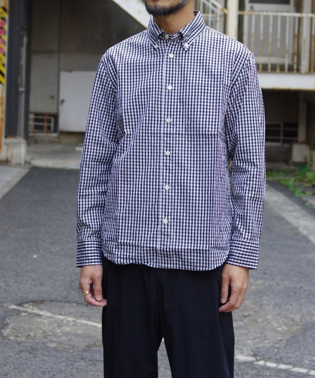 Manual Alphabet/マニュアルアルファベット 100/2 GINGHAM BD SHT/Bulging Fit - BLACK