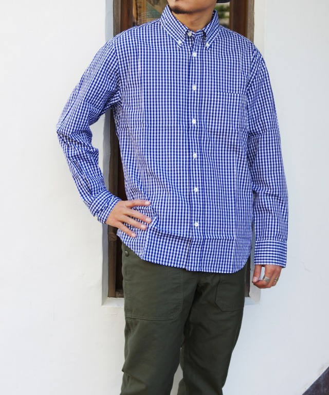 Manual Alphabet/マニュアルアルファベット 100/2 GINGHAM BD SHT/Bulging Fit - NAVY