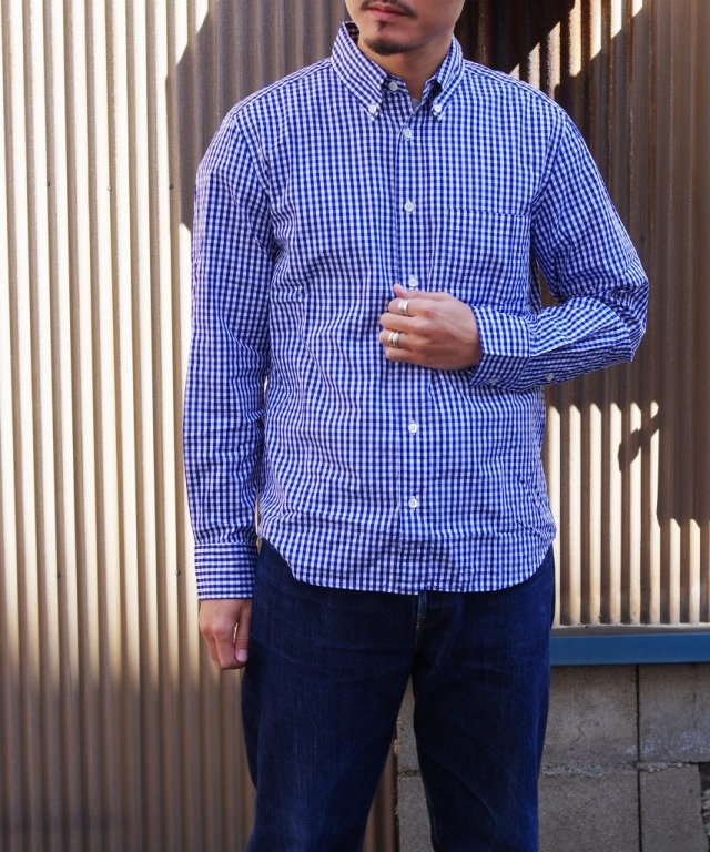 Manual Alphabet/マニュアルアルファベット 100/2 GINGHAM BD SHT/Suitable Fit - NAVY 【MAPSの定番】