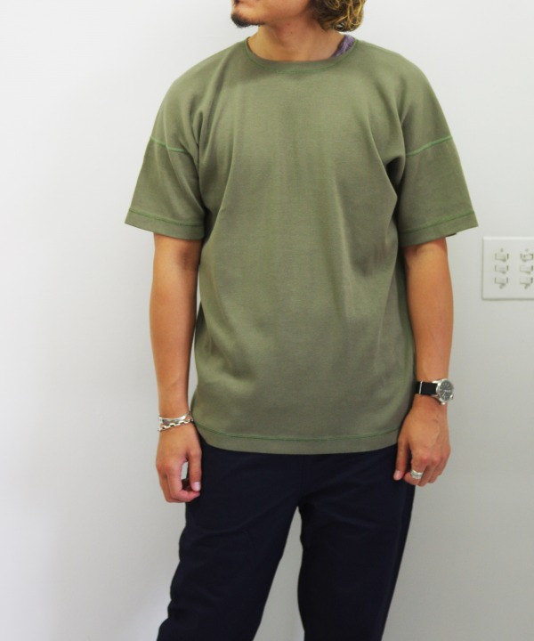 Olde Homesteader/オールドホームステッダー CREW NECK SHORT SLEEVE - Heavy Weight Rib オリーブ