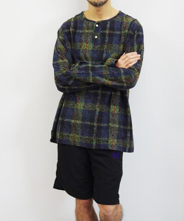 South2 West8/サウス2 ウエスト8 Henley Neck Shirt - Batik Over Print (全2色)