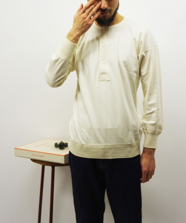 Olde Homesteader/オールドホームステッダー HENLEY NECK LONG SLEEVE - Interlock アイボリー 【MAPSの定番】