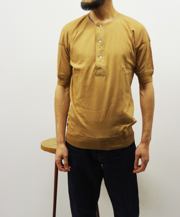 Olde Homesteader/オールドホームステッダー Interlock HENLEY NECK SHORT SLEEVE - キャメル