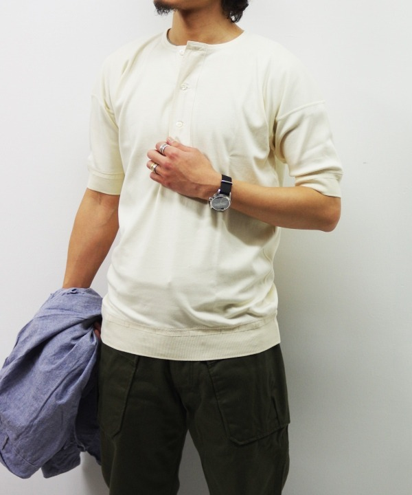 Olde Homesteader/オールドホームステッダー HENLEY NECK SHORT SLEEVE - Interlock アイボリー 【MAPSの定番】