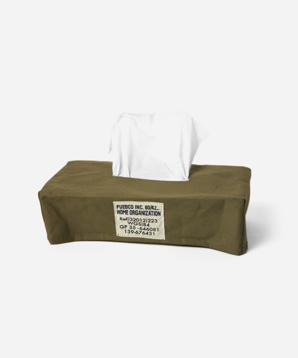 PUEBCO/プエブコ LAMINATED FABRIC TISSUE BOX COVER - OLIVE