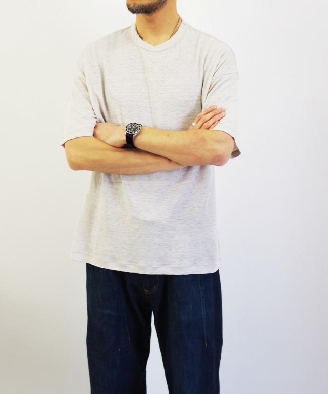 RINEN/リネン 40/1 リネン 天竺 半袖ワイドTシャツ (全2色)