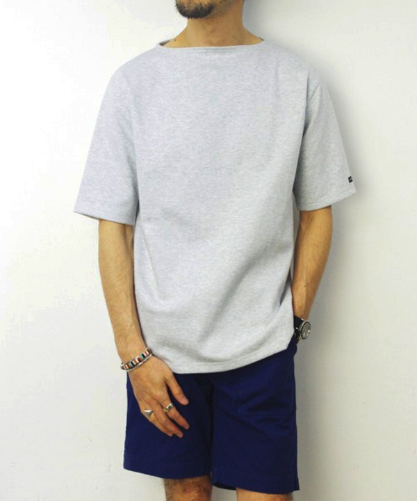 Saint James/セントジェームス OUESSANT S/S - SOLID GRIS CLAIR(霜降りペールグレー)