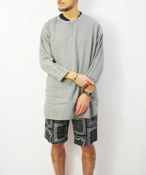 RINEN/リネン 60/1リネンローン 七分袖比翼バンドカラーシャツ (全2色)
