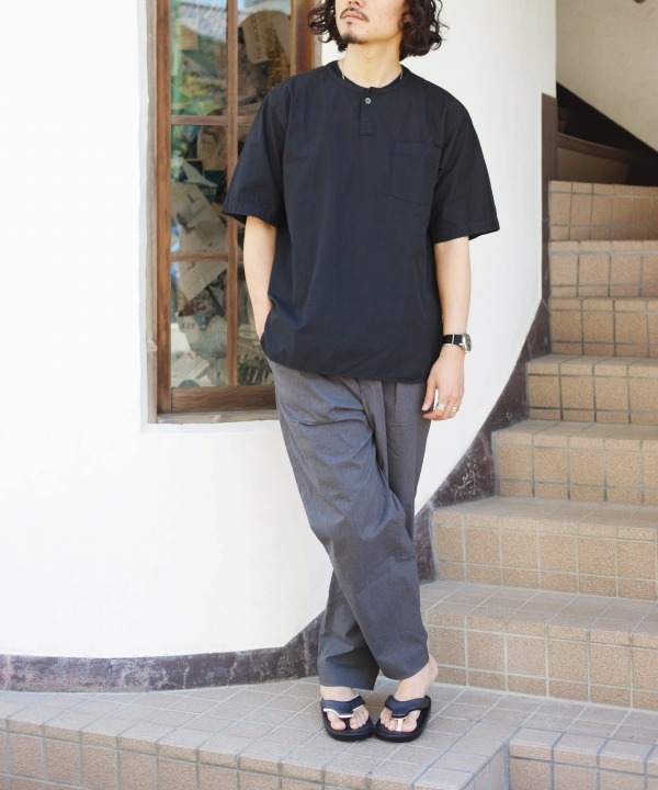 リネン/RINEN  80/2ブロード 半袖ヘンリーネックシャツ (全2色)