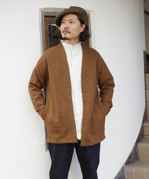 リネン/RINEN 25/1 リサイクル度詰め 裏毛裏起毛 トッパーカーディガン(全2色)