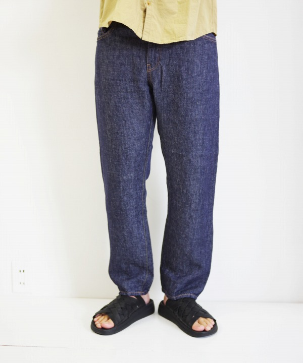HATSKI/ハツキ Regular Tarpered Linen Denim - Navy