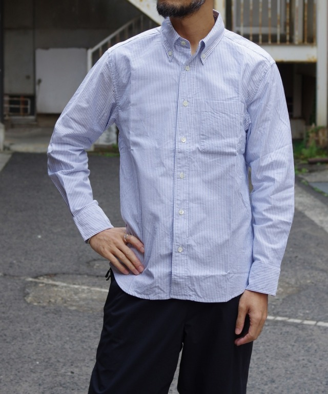 Manual Alphabet/マニュアルアルファベット SUPIMA OX BD SHT/Bulging Fit - NAVY/WHITE 【MAPSの定番】