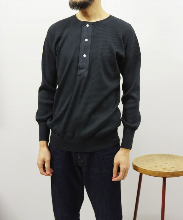 Olde Homesteader/オールドホームステッダー HENLEY NECK LONG SLEEVE - Swedish Army Rib ブラック