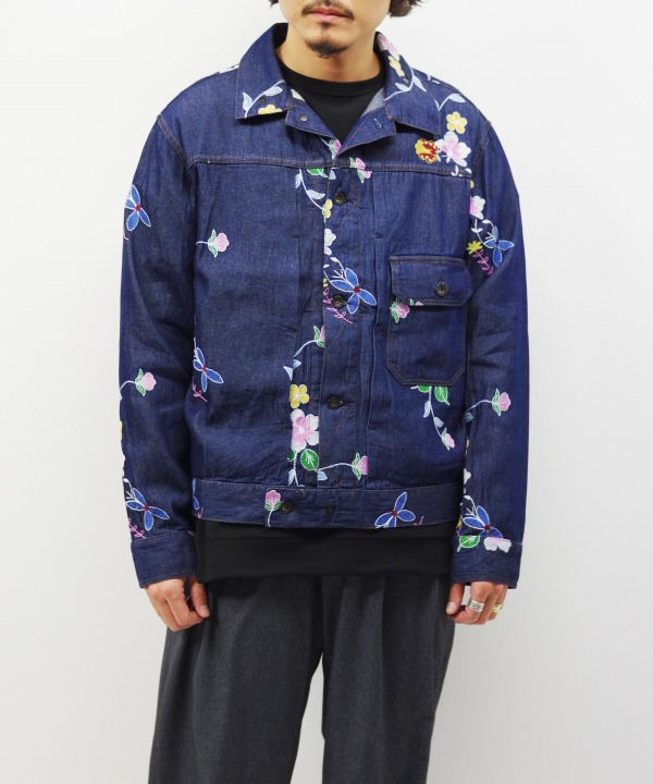 Engineered Garments/エンジニアド ガーメンツ Trucker Jacket - Denim Floral Embroidery