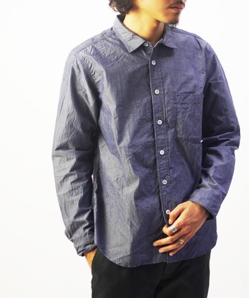RINEN/リネン 80/2 ダウンプルーフ レギュラーカラーシャツ - シャンブレー