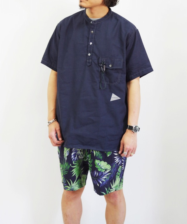 and wander/アンドワンダー dry linen short sleeve shirt