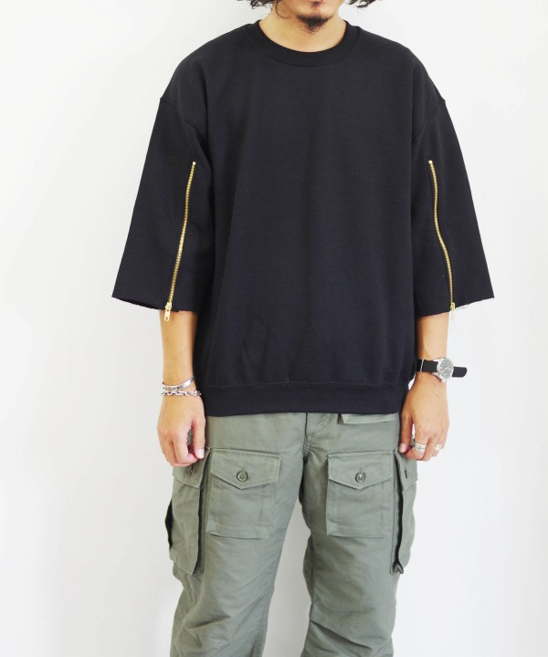 burself remake clothing/バーセルフリメイククロージング gold zip sweat top