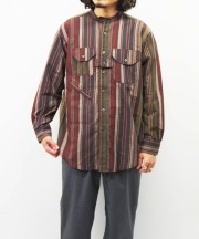 Engineered Garments/エンジニアド ガーメンツ Banded Collar Shirt - Variegated Stripe