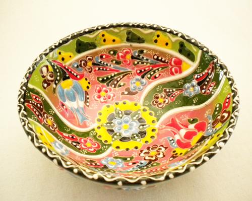 トルコ陶器のハンドメイド絵皿ボール グリーン