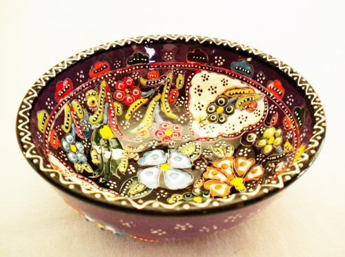 トルコ陶器のハンドメイド絵皿ボール パープル&ブラック