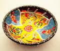 トルコ陶器のハンドメイド絵皿ボール パープル&イエロー