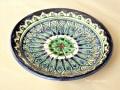 ウズベキスタンを代表する工芸品のリシタン陶器のプレート(小皿) グリーン
