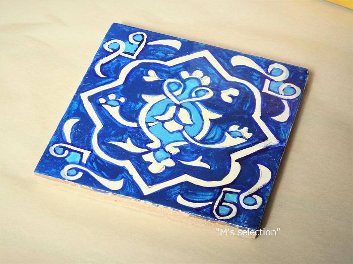 ウズベキスタンの手描きのモザイクタイル blue(青色) タイプ【D】