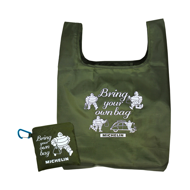 Packable eco bag/カラビナ付き/Olive/Michelin(233609)【ネコポス便可】