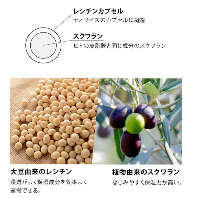大豆由来のレシチン、植物由来のスクワラン