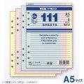 システム手帳リフィル A5 横罫ノート(6.5mm罫)3色111枚入