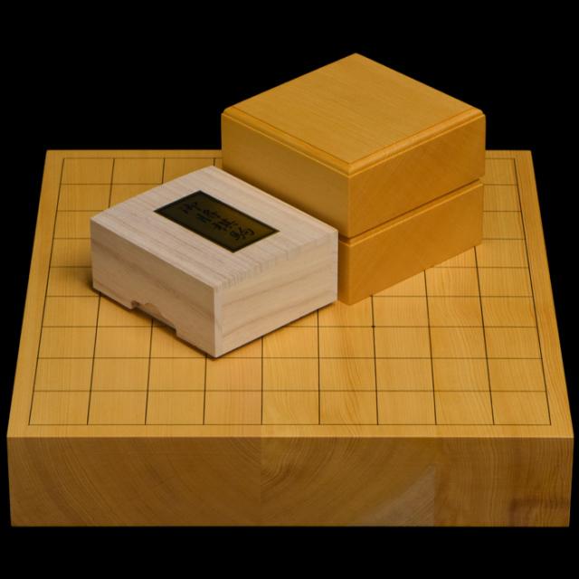 本榧2寸卓上将棋盤セット(ハギ盤 上)