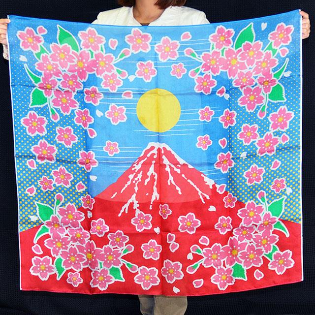 S8533 デザインシルク「赤富士桜」(特上品 Lサイズ)約90cm角