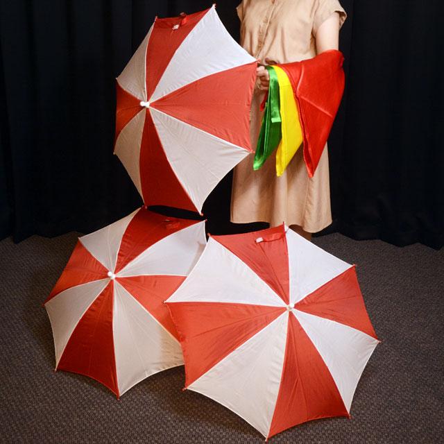 T2323 スカーフから出現するパラソル(紅白)