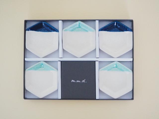 m.m.d. / 六角豆皿5枚セット/ ギフトボックス&熨斗付き / 青磁 + ルリ / 青磁と夏の贈り物