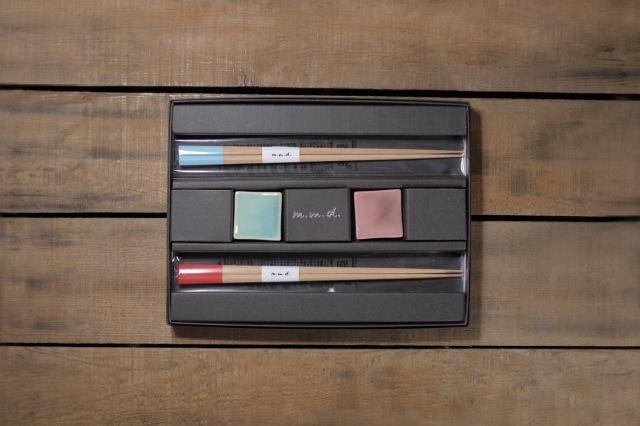 m.m.d. / 六角箸 + 箸置き ギフトボックス&熨斗付き