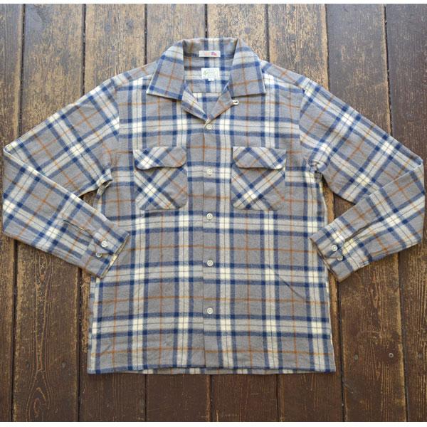 ブルーウォーター BLUE WATER フランネルオープンチェックシャツ FLANNEL OPENSHIRT GRAY/NAVY