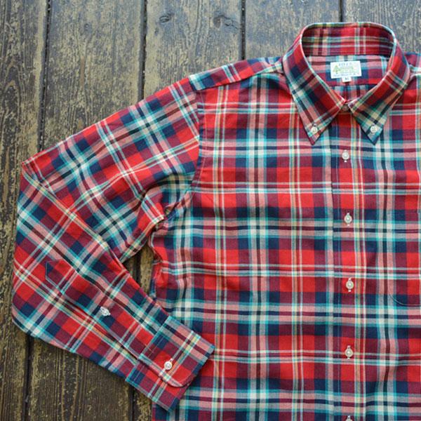 ブルーウォーター BLUE WATER マドラスチェック ボタンダウンシャツ RED