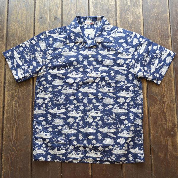 ブルーウォーター BLUE WATER コットンアロハ オープンシャツ USA生地 ALOHA NAVY/WHITE