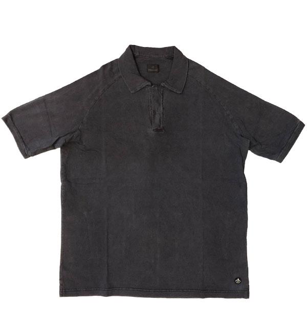 キャンディダム (arbre) 【Candidum】 後染めコットン半袖ポロシャツ NAVY
