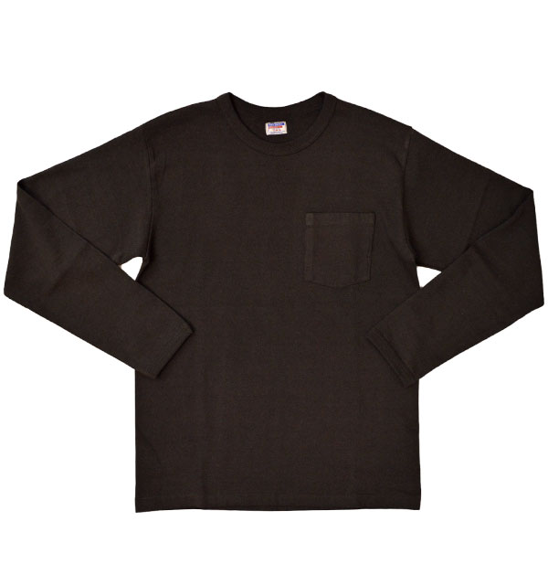 ダブルワークス DUBBLE WORKS 8番手 度詰め丸胴天竺 ポケットL/STシャツ HEAVY WEIGHT POCKET L/S TEE Lot.58002 BLACK