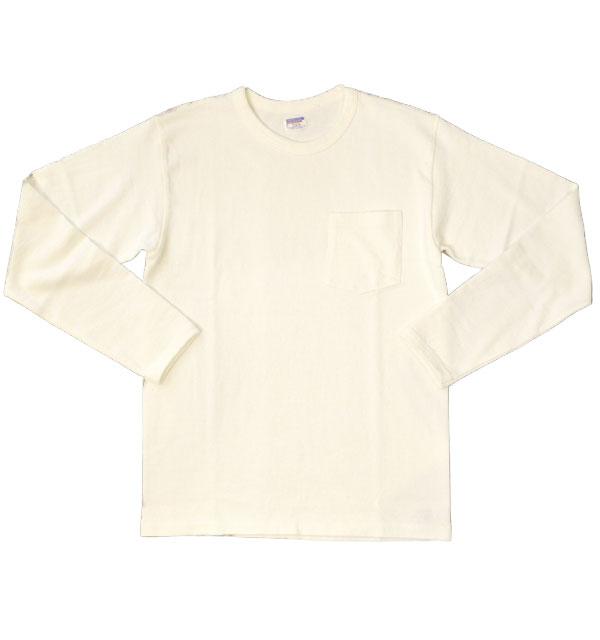 ダブルワークス DUBBLE WORKS 8番手 度詰め丸胴天竺 ポケットL/STシャツ HEAVY WEIGHT POCKET L/S TEE Lot.58002 WHITE