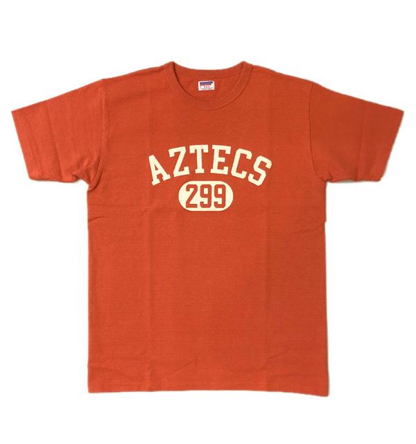 ダブルワークス DUBBLE WORKS 8番手 度詰め丸胴天竺 プリントTシャツ HEAVY WEIGHT PRINT TEE Lot.37001 AZTECS RED