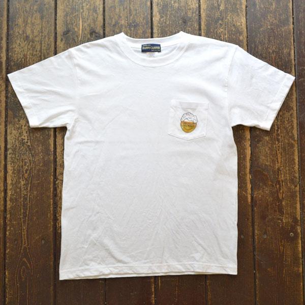 """ハッピーキャンパー HAPPY CAMPER 6.2オンス 半袖プリントポケットTシャツ """"PREMIUM BEERDAY"""" WHITE"""