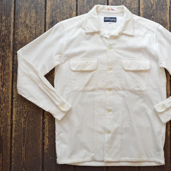 ハッピーキャンパー HAPPY CAMPER USA FABRIC OPEN NELLSHIRTS フランネルオープンシャツ WHITE