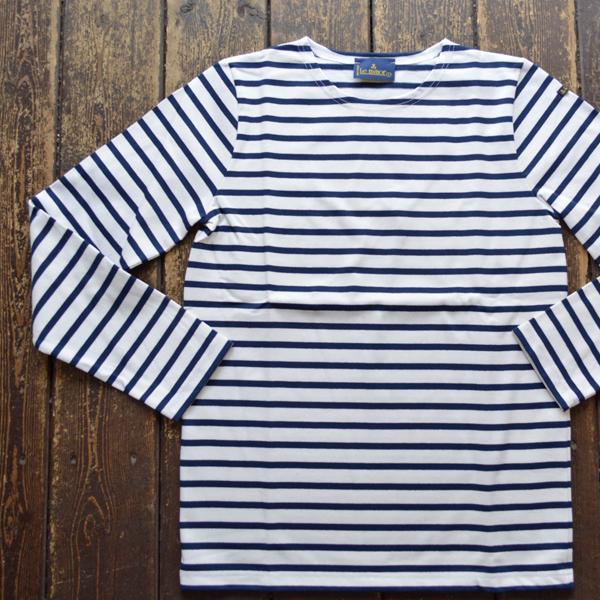 ルミノア Le minor ボーダーバスクシャツ 810 BLANC/MARINE