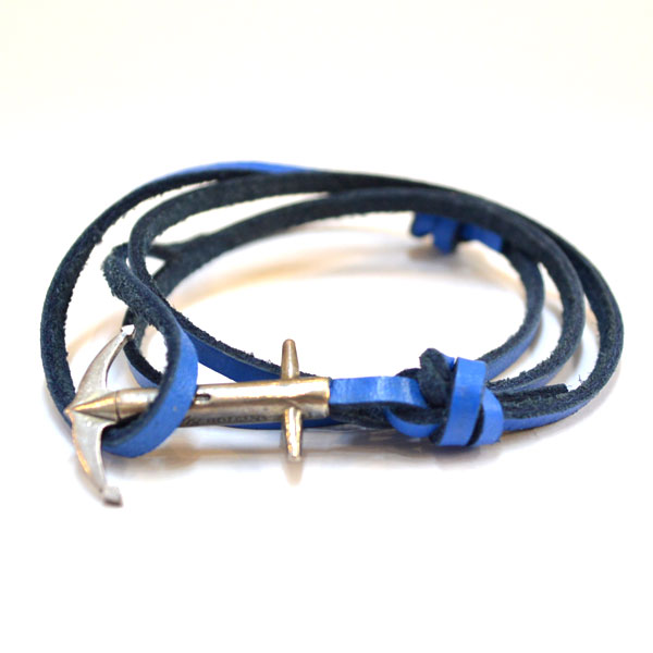 アンカーアンドクルー ANCHOR&CREW レザーブレスレット スターリングシルバー 925 LEATHER BRACELET STERLING SILVER ADMIRAL BLUE