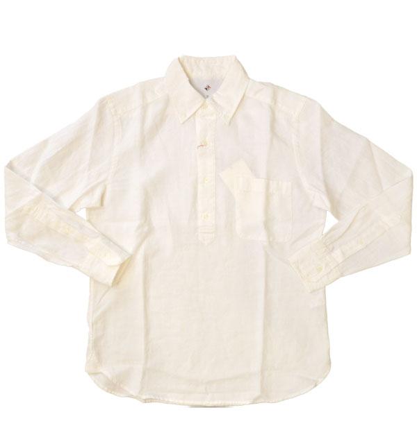 アルブル 【arbre】 フレンチリネンボタンダウンプルオーバーシャツ WHITE