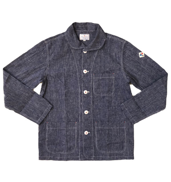アルボーマレー 【Arvor Maree】 フレンチリネン カバーオール French Linen Jacket NAVY